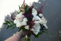 Bride bouquet - Natural Stems Orchids, Calla, Spray Roses & Dahlia mums