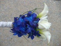 Bride Bouquet of Calla, Roses, Blue Orchids