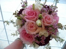 Bride Bouquet of Garden Roses, Lisianthus,  Dahlias, Seeded Eucalytus Natural Stems