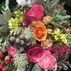 Brides bouquet classic Succulents roses, dusty miller, stock , hypericum