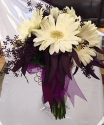 Bride's Bouquet - Gerberas  White on Purple