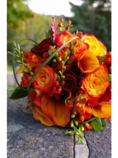 Bride's bouquet of mainly roses/w fillers in any color combo
