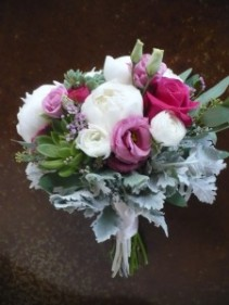 Bridesmaid Bouquet of Peony, Rananculus, Succulents, Lisianthus, Dusty Miller