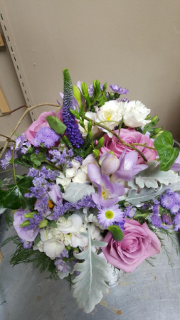 Bridesmaids in lavender and dusty Miller  Wedding bouquet