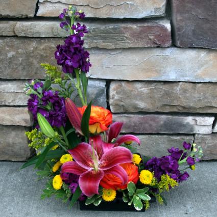 Bright A Symmetrical Design Contemporary Flower Arrangement In