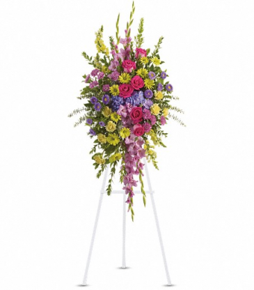 Bright and Beautiful Spray by Teleflora Standing Easel Spray