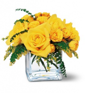 Bright and Beautiful Yellow rose cube bouquet