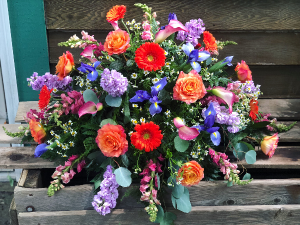 Bright and Colorful Casket Spray Casket Spray in Iowa City, IA | Every Bloomin' Thing