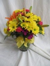 Bright and Colorful Fresh Vased Arrangement
