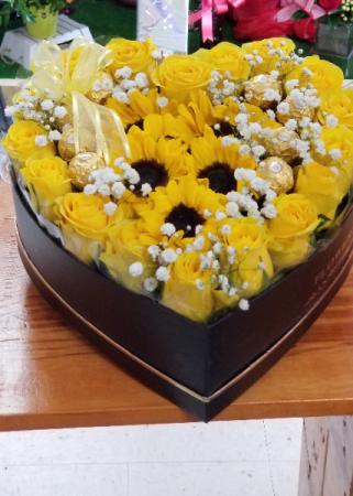 Bright and Sunny Future  Rose's chocolates & Sunflowers Heart Box