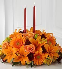 Bright Autumn Centerpiece Fall Centerpiece in Fairfield, CT | Blossoms at Dailey's Flower Shop