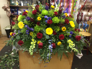 Bright & Beautiful Spray Casket Spray in De Leon, TX | PRICE'S FLOWERS