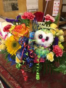 Bright Birthday Fun!!  Basket arrangement