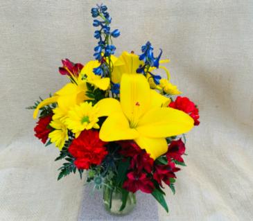 Bright, Bold & Blue  Fresh Vase Arrangement