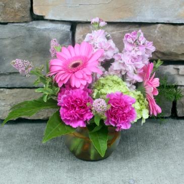 Pink Paradise Bubble Bowl Classic Flower Arrangement