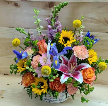 Bright & Cheery Basket Designer's Choice Basket Arrangement