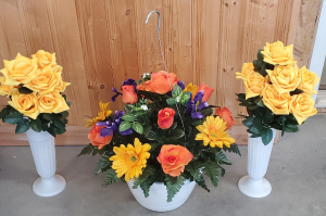 Bright Colors Basket or Saddle Set artificial in Shipman, IL | B & B FLORAL -N- GIFTS