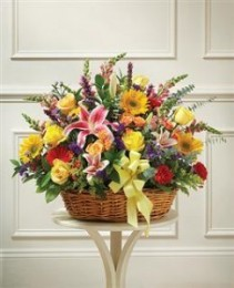 Bright Flower Sympathy Basket Funeral - Sympathy