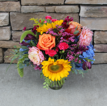 Bright Ginger Jar Classic Flower Arrangement