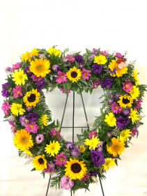 Bright Life  Heart Wreath Standing Spray