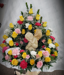 Bright Memorable Thoughts Urn Wreath Funeral Arrangement