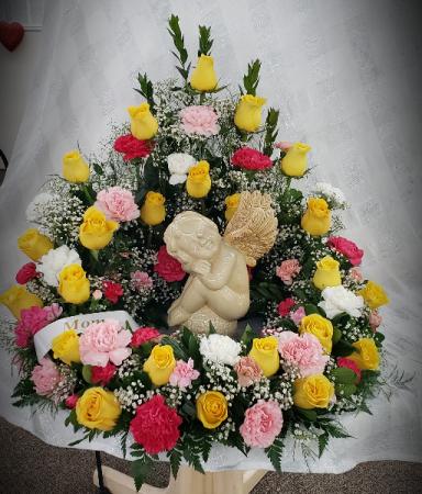 Bright Memorable Thoughts Urn Wreath Funeral Arrangement