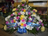 Bright Mix Flowers (TB 12) Funeral Basket