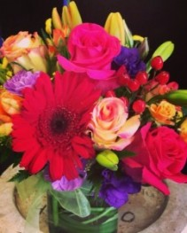 Bright Mixed Gerbera Cube Birthday
