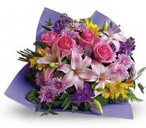Bright Mixed Flower Wrapped Cut Flowers in North Bay, ON | ROSE BOWL FLORIST
