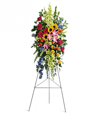 Bright mixed garden spray Funeral Flowers