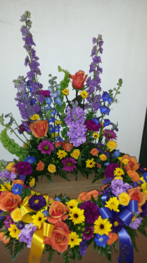 Bright mixed wreath for urn