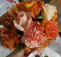 Bright Peach & Orange Handtied Bouquet