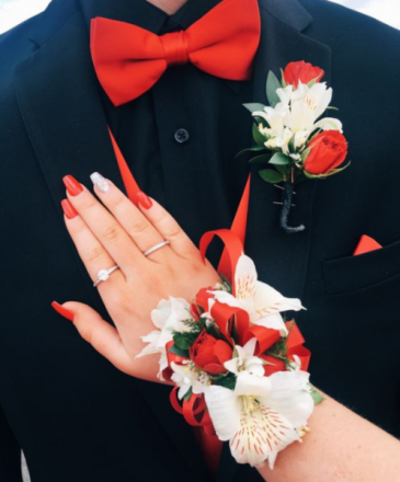 BRIGHT RED & WHITE SET Corsage & Boutonniere Set