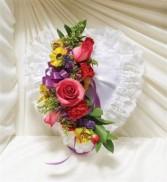Bright Satin Heart Casket Pillow Funeral