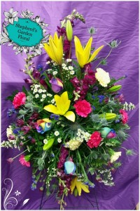 Bright Standing Spray w/  Mix Flowers Funeral