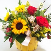 Bright Sunflowers and Roses Basket