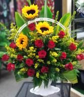 Bright Tribute Funeral Urn Floral Arrangement