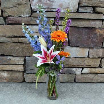 Bright Trio Vase Summer Garden Flowers