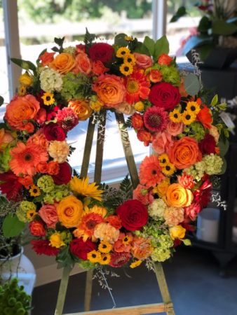 Bright and Cheery  Funeral Wreath
