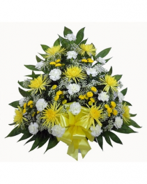 Bright  Yellow and White Funeral Tribute Funeral Container
