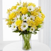 Brighten Her Day Bouquet Mix of Yellow Roses and Daisies
