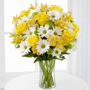 Brighten Her Day Bouquet Mix of Yellow Roses and Daisies in New Port Richey, FL | FLOWERS TODAY FLORIST