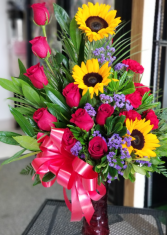 Brighten the Day Rose's Sunflowers & Carnations