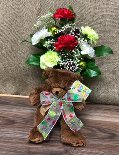 Brighten your Christmas  Christmas carnations and teddy bear