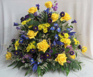 Brighter Days Ahead Fresh Fireside Funeral Basket in Farmville, VA | CARTERS FLOWER SHOP