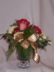 SEASONS BRIGHTFUL GREETINGS- Chrystal Vase Christmas Roses Arrangements From AMAPOLA BLOSSOMS    Crystal Vase Flower Arrangement