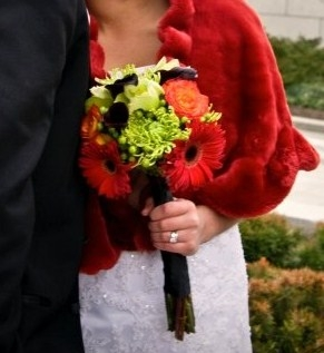 Brightly Colored Handtied Wedding Bouquet
