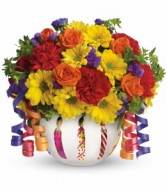 Brilliant Birthday Blooms T28-1A Teleflora in Hesperia, California | ACACIA'S COUNTRY FLORIST