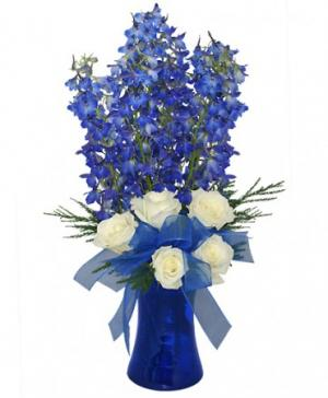 Brilliant Blue Bouquet of Flowers in Mobile, AL | ZIMLICH THE FLORIST