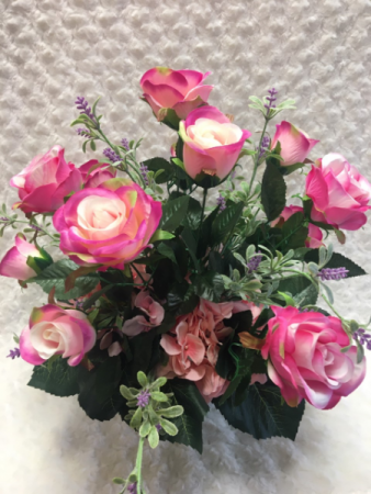 Brilliant Pink Roses Permanent Arrangement